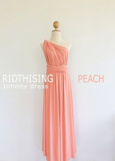 Maxi Peach Bridesmaid Dress Infinity Dress by RIDTHISING on Etsy