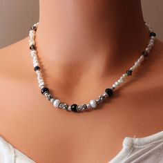 Simple, elegant, goes with anything! Crystal Pearl Black Onyx Elegant Luxe Necklace by symphonyjewels