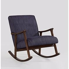 Indigo Blue Fabric Rocking Wooden Chair and MidCentury Style Included Cross Scented Candle Tart Furniture Deals, Retro Furniture, Wooden Rocker, Wooden Rocking Chairs, Baby Chair, Glider Chair, Living Room Chairs, Living Room Furniture, Retro Lamp