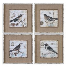 Black And White Birds Art Set of 4