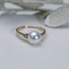 ピンクゴールドのパールリング Pearl Ring, Pearl Earrings, Rose Gold, Pearls, Jewelry, Fashion, Moda, Pearl Studs, Jewels