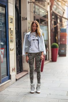 camo skinnies & a really cool jacket. Paris.