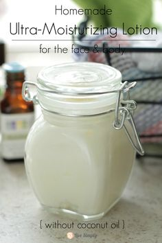 Homemade DIY ultra moisturizing lotion moisturizer. An easy-to-make recipe without coconut oil. (Via Live Simply)