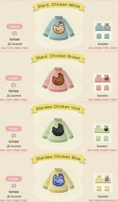 Here are the codes for the SV chicken designs in Animal Crossing! Hope you enjoy them! Animal Crossing Funny, Animal Crossing Guide, Animal Crossing Qr Codes Clothes, Animal Crossing Pocket Camp, Animal Games, My Animal, Chicken Sweater, Motifs Animal, Pokemon