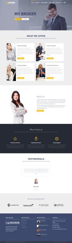 My Broker - Business and Finance WordPress Theme. It is designed specifically for Financial Companies, #Investment Services, Management Services, #Banking Business website. #broker #insurance