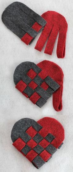 DIY Woven Danish Heart Baskets. I really love this craft - cheap, easy, pretty homemade, and a great end result! These are made out of felt but you can use construction paper. For the entire tutorial go to Radmegan in Words and Pictures here. She has more color combinations and a very clear video on her site (that I just watched that makes everything crystal clear on the weaving).: