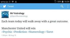 I predict which football team will win on any given day. I use Numerology (the art of predicting using numbers) accompanied by Astrology.