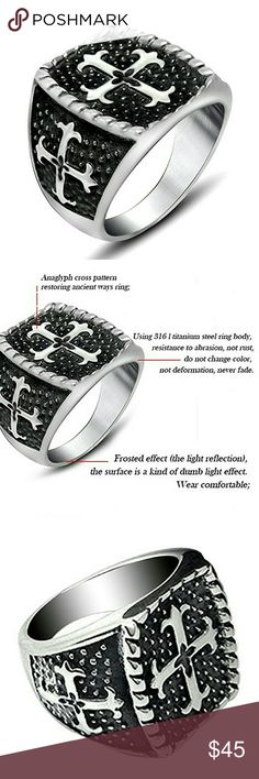 Lifted Blck Cross Stainls Stl Titanium Silver Band NWT Authentic Qoyo Jewlers Unique Lifted Black Cross Design Mens Stainless Steel Titanium Silver Band w/gift box this beautiful  Vintage Ring has a highly polished finish for a comfortable fit its made from sturdy high quality hypoallergenic 316L Titanium Silver Plated Steel that will never fade or rust plus its both lead & nickel free so you never have to worry about it trning your finger green it's a Simple but Unique Design,that makes a…