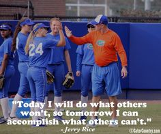 Kirsti Merritt getting a high five during a Florida Softball scrimmage