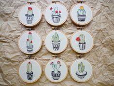 3 inch Hoop Art 'Cactus 7' Modern Embroidery by Cheese Before Bedtime   Felt