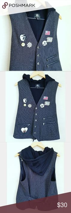One-of-a-kind Rock & Republic Heringbone Vest So funky!! Great for Fall layering Custom patches and pins  Hooded Fully lined Functional pockets  Adjustable buckles in back Excellent like new condition Rock & Republic Jackets & Coats Vests