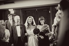 The bride with her lovely parents walking down the aisle. Her Dad was so nice the entire time, she is a lucky girl!
