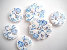 Button Country Blue Stamped Roses polymer clay by digitsdesigns, $7.50