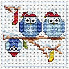 The Twitts Christmas card cross stitch kit kit by Fat Cat Cross Stitch.  Design 8.3cm x 8.3cm 14 count white Aida The kit contains fabric, stranded Anchor embroidery threads, needle, easy to follow instructions and chart, card and envelope.  A brand new kit will be sent directly to you by Fat Cat Cross Stitch - usually within 2-4 working days © Fat Cat Cross Stitch