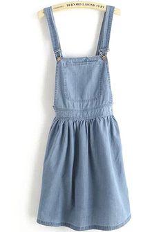 Blue Strap Pocket Backless Denim Dress pictures