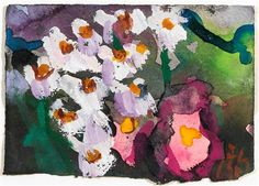 Artwork by Klaus Fussmann, Garden still life with asters, Made of Watercolour and gouache on handmade paper