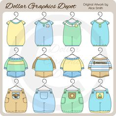 Baby Boy Outfits 1 - Clip Art - *DGD Exclusive*