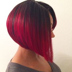 Red Ombre Graduated Bob Short Hair Hairstyle MissyLynn