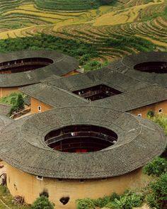 Hakka Earth Buildings, (re)built in 1930's-60's, Fujian, China, Oct. 2003 Leica R 6.2+Elmarit-R135mm, Kodak HD400