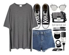 """""""Casual"""" by monmondefou ❤ liked on Polyvore featuring Converse, Momewear, AORON, Karl Lagerfeld, Maison Margiela, Lancôme, NARS Cosmetics, Shany, MAC Cosmetics and Gucci"""