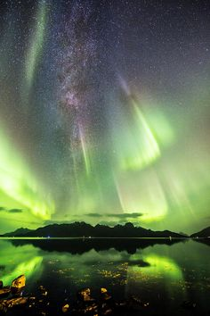 Auroras And Milky Way in Norway                              …