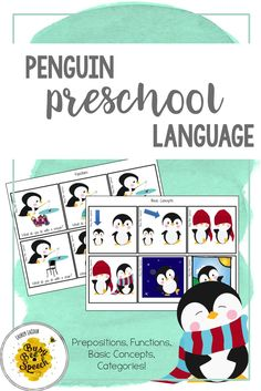 These cute penguins help students practice early language concepts including prepositions, categories, functions, and basic concepts. Perfect for speech therapy sessions and preschool rooms.