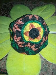 Rasta hat with mandala flower small crochet knit girlfriend gift boyfriend Christmas present friend micro macrame Hanukkah birthday by AnarchyNeverDies on Etsy