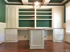 This custom built home office features a dual desk for multi person use with adjustable shelves, drawers, cabinetry, marble top, and adorned in trim details. Home Office Layouts, Home Office Space, Home Office Desks, Home Office Furniture, Office Decor, Office Ideas, Furniture Design, Office Setup, Office Art