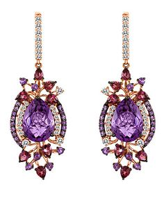 These earrings are an amethyst lovers dream. Hard Candy Amethyst™, White Topaz and Raspberry Rhodolite®, set in Strawberry Gold®
