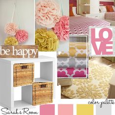 pink yellow gray for a baby girl room