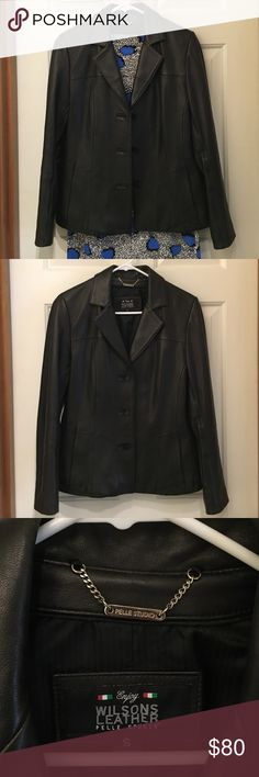 ✨Wilsons Leather jacket size S✨ Beautiful Wilsons black leather in excellent condition, size S but I feel little big for me, the leather is very soft and smooth Wilsons Leather Jackets & Coats Blazers