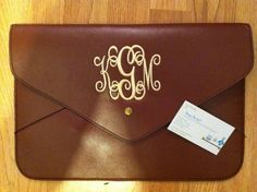 Ladies/ Womens Monogrammed Clutch Purses -Monogrammed Envelope Clutch. $19.95, via Etsy.