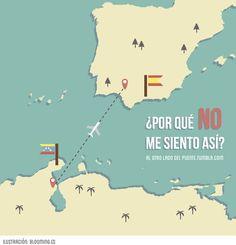 """De Venezuela a España. Ilustración para el blog """"Al Otro Lado del Puente"""". #Ilustración #GraphicDesign #DiseñoGrafico #illustration"""