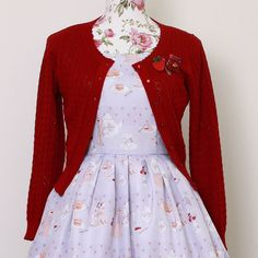 """A red cardigan accentuates the little porcelain servings of jam on your dress Reservations for """"Afternoon Tea with Bunny"""" close in less than 10 hours. Are you a Matcha Maiden or Princess of Tea? (Shop link in profile) #mulberrychronicles #ootdsocialclub #noveltyprint #erstwilder #eglcommunity #lolitafashion #innocentworld #pastel (Thankyou so much to everyone who selected a dress over the past weeks ) #vintageinspired #vintagefashion #noveltyprint #noveltybrooch #cutefashion #twee #retro…"""
