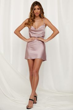 The Of A Different Kind Dress is the little bit of luxe your wardrobe will love! It has a cowl neckline, adjustable shoulder straps, an invisible side zip and it's made from super soft satin fabric. Blush Dresses, Satin Dresses, Sexy Dresses, Casual Dresses, Short Dresses, Prom Dresses, Summer Dresses, Tight Dresses, Fashion Dresses