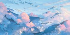 the sea of the sky on Behance Cute Desktop Wallpaper, Wallpaper Notebook, Aesthetic Desktop Wallpaper, Macbook Wallpaper, Anime Scenery Wallpaper, Kawaii Wallpaper, Galaxy Wallpaper, Cartoon Wallpaper, Cute Wallpapers