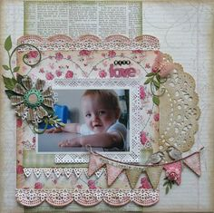 With Love by memoriesformom - Cards and Paper Crafts at Splitcoaststampers - via Wendy Schultz ~ Baby Layouts. Baby Girl Scrapbook, Baby Scrapbook Pages, Scrapbook Paper Crafts, Scrapbook Cards, Paper Crafting, Scrapbook Photos, Scrapbook Albums, Scrapbook Layout Sketches, Scrapbooking Layouts