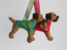 Christmas Red Grizzle Border Terrier felt ornament by MisHelenEous