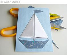Askarteluohjeet: Isänpäiväkortti - Laiva, jossa taitettavat purjeet