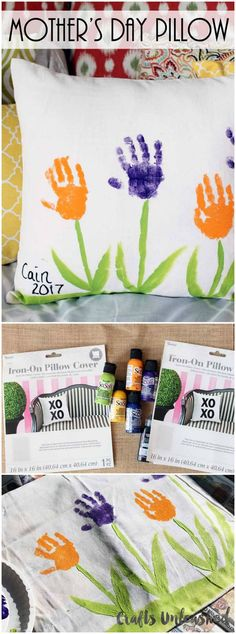 Handprint Flowers Pillow For Mother's Day Painting For Kids, Art For Kids, Craft Gifts, Diy Gifts, Easy Crafts, Diy And Crafts, Kids Crafts, Mother's Day Theme, Personalized Mother's Day Gifts