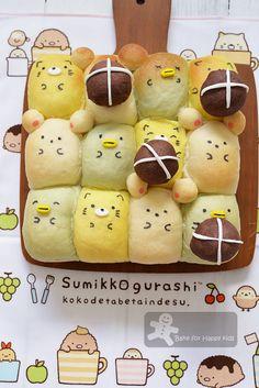 Super soft Japanese bread!  Sumikko Gurashi hot cross buns