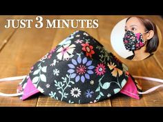 JUST 3 MINUTES - Simple 3D Face Mask 2 in 1 Style Sewing Tutorial|DIY Fabric Mask for beginner - YouTube Small Sewing Projects, Sewing Hacks, Sewing Tutorials, Sewing Crafts, Easy Homemade Face Masks, Easy Face Masks, Diy Face Mask, Mascara 3d, Diy Mask