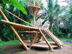 The main part of this playground is the spider design as that might attract kids., The main part of this playground is the spider design as that might attract kids. Kids Backyard Playground, Playground Design, Playground Ideas, Children Playground, Bamboo Building, Bamboo Architecture, Green School, Bamboo Crafts, Bamboo Design
