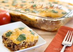 Cheesy Enchilada Casserole!  This will have your whole family licking their plates clean! It's delicious!