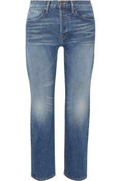 FRAME's 'Le Original' jeans are inspired by '80s straight-leg styles. This cropped pair is handcrafted from rigid blue denim and faded at the hips and thighs for a worn-in effect. Wear yours with a tucked-in tee to highlight its flattering high-rise waist.