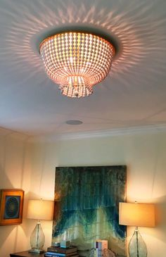 Inspired Lighting with this amazing large white beaded flush mount light. Do you want more inspired lighting & design ideas? Get frequent updates at on the Home in Harmony FB page... https://www.facebook.com/HomeinHarmony/?pnref=lhc