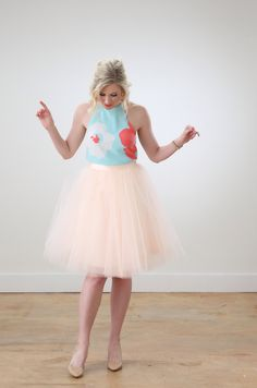 Blush tulle skirt from Space 46, ashleybrookedesigns.com, spring summer fashion, floral blouse top