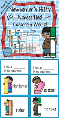 ESL School Vocabulary! This ESL packet is to help our newcomer ELL's transition into our classrooms. It would be great for kindergarten and first grade students when they come Back to School! It is a classroom/school theme set of vocabulary words that can be used in many ways: Games, Pocket Chart, and Anchor Chart. Great ESL Activities to help your children learn English!  This is Unit 2 in a year long curriculum to help your new English Language Learners. It is based on WIDA and Common Core