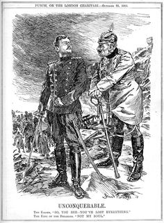 """""""Unconquerable"""". Cartoon by Bernard Partridge. Published in Punch 21st October 1914"""