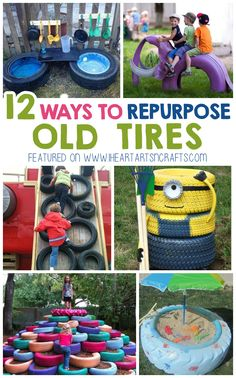 12 Creative Ways To Repurpose Old Tires - I Heart Arts n CraftsBike Quotes, Tire Steps - Bike Stuff, Old Tires Ideas For Kids.Easy backyard ideas for small yards 4928022867 Kids Outdoor Play, Outdoor Play Areas, Kids Play Area, Backyard For Kids, Backyard Ideas, Garden Ideas, Tyre Ideas For Kids, Diy For Kids, Tires Ideas